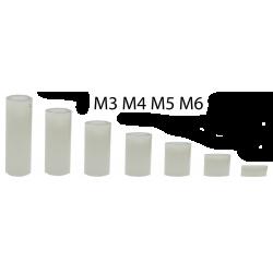 Plastic afstandsbus wit M3x6